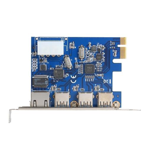 PCI-E para conversor de adaptador de cartão USB 3.0 Plus Gigabit Ethernet externo para 3 portas para PC Desktop