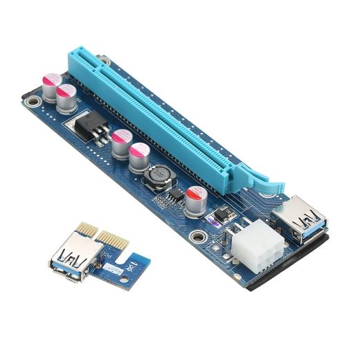 Segotep PCI-E Zasilacz do karty graficznej z przedłużaczem GPU 1X i 16X z zasilaczem USB3.0 6Pin w / 60cm USB3.0 i Molex do kabli zasilających SATA do wydobywania ETH BTC Bitcoin Ethereum Litecoin