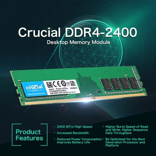 Crucial DDR4 Memory 4GB 2400MHz MT/s CL17 1.2V PC4-19200 UDIMM 288-pin for Desktop CT4G4SFS824A