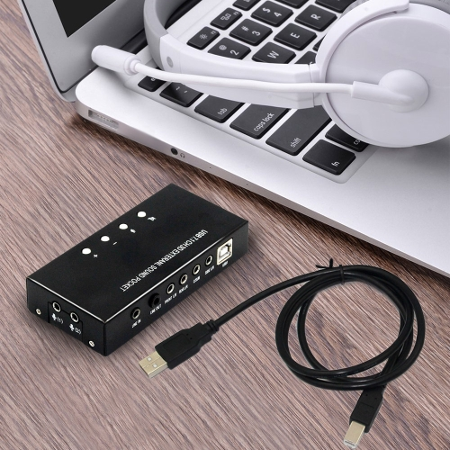 USB Sound Card External Stereo 7.1 canali 3D da 3,5 mm Aux Out Plug and Play per Windows 8 7 XP Vista Black