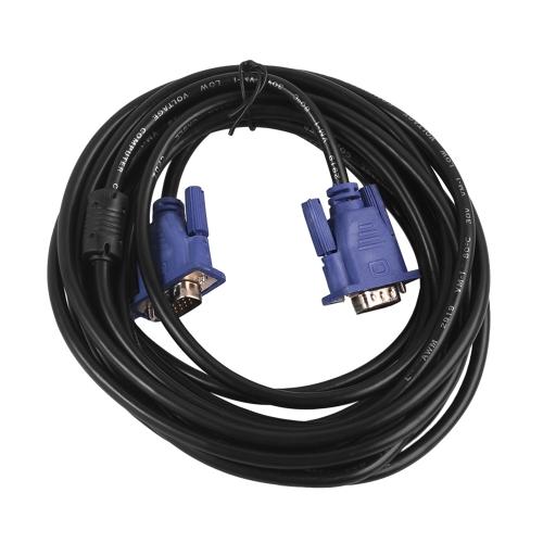 HD 1024p Monitor Cabo VGA Cabo de 15 pinos para macho VGA de computador com núcleos de ferrite dupla para computador de vídeo Projetor de TV 1.3M Preto