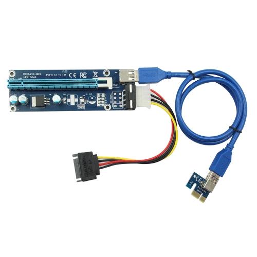 VER006S 0.6M PCIe PCI-E 1x〜16xライザー・カード、USB 3.0データ・ケーブル/ SATA〜4ピン・モレックス電源コード(BTC LTCマイニング用)