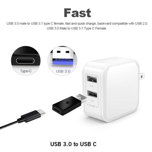 USB 3.0 Male to USB 3.1 Type C Female Data Converter USB 3.0 to USB-C Female Adapter Port for Laptop Phone Black