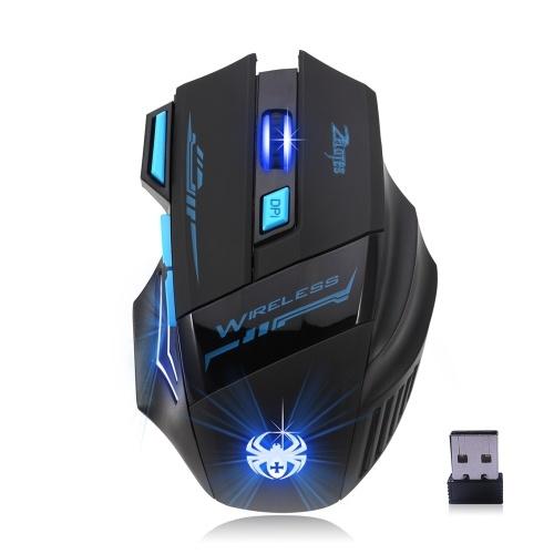 ZELOTES F14 LED Оптическая Компьютерная Мышь Беспроводная 2.4G 2400 DPI 7 Кнопок Беспроводная Игровая Мышь Красочные Дышащие Огни для Pro Gamer