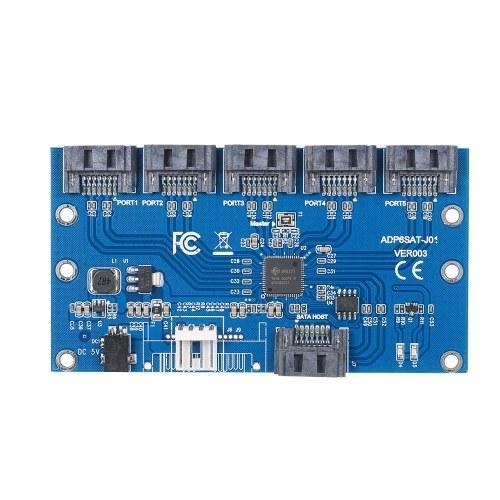 SATA Hard Disk Adapter Card 1 to 5 SATA Multiplier Riser Card Splitter JMB321 Chip