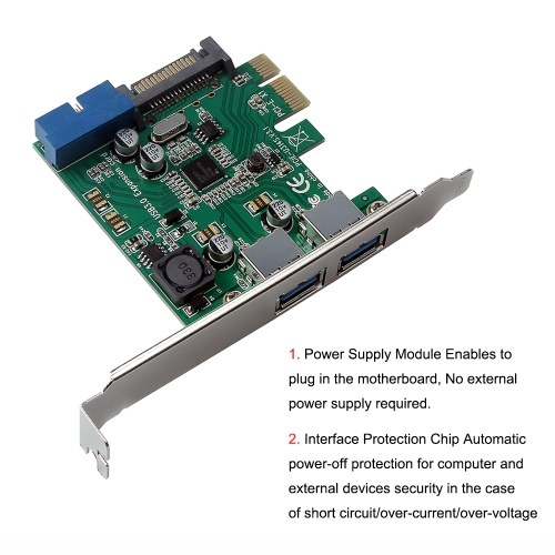 Four Ports USB 3.0 Super Fast 5Gbps PCI-E Expansion Card PCI Express Adapter Converter Card Power Supply Module for Desktop PC with 2U Low-Profile Bracket