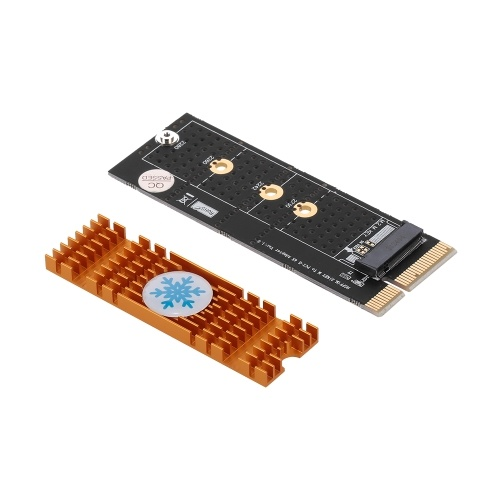 M.2 NVME M Key Конвертер адаптеров SSD в PCI-E 4X для настольных ПК с роскошным золотым радиатором