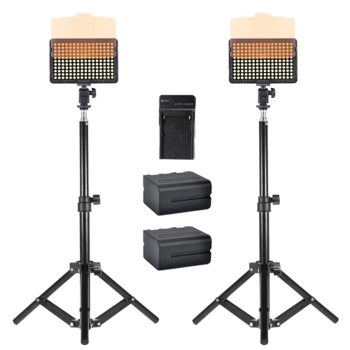 2Pcs Andoer Photo Studio 50cm / 20inch Aluminum Alloy Mini Light Stand Table Top Backlight Stand + 2Pcs Video Light Lamp Panel 176 LEDs 5600K + 1Pc Battery Charger and 2Pcs 6600mAh NP-F960 NP-F970 Battery