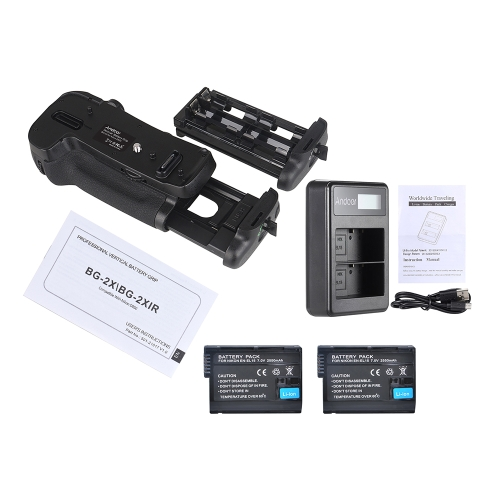 Andoer BG-2X Vertical Battery Grip Holder for Nikon D850 DSLR Camera + 2 *  EN-EL15 Full Coded Digital Battery + Andoer EN-EL15  Battery Charger LED Display 2-Slot