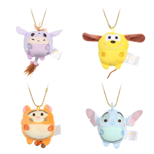 4Pcs Cute Cartoon Bear Pig Elephant Doll Toys Mini Plush Dolls Stuffed Toys Kids Birthday Gift Keychain