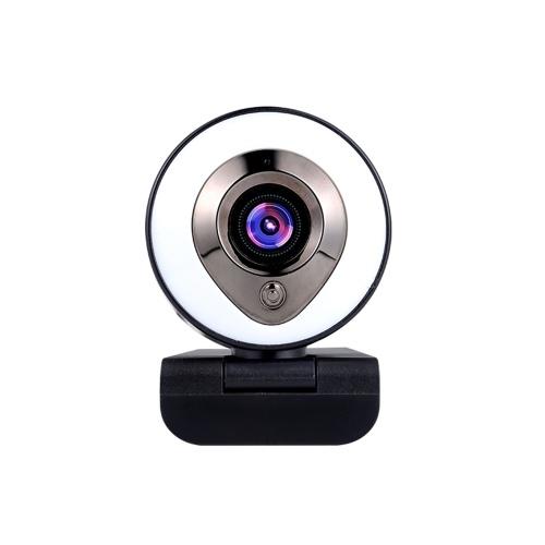 Веб-камера Многоступенчатое кольцо Дополнительный свет Камера 1080P HD Видео AF Автофокус Веб-камера Автоматическая подсветка Черный