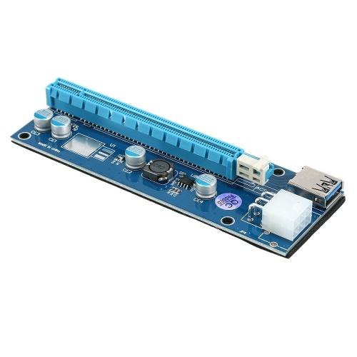 Карта адаптера PCI-E 1X к PCI-E 16X Карта преобразователя PCI-E 6Pin с кабелем передачи данных USB3.0 Кабель питания SATA для майнинга биткойнов