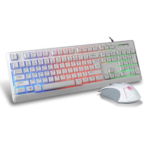 B-STROM T7200 USB Gaming/escritório com fio teclado e Mouse óptico Combo conjunto 1600 DPI ajustável com retroiluminado para PC Laptop Desktop