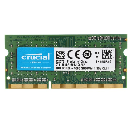 Crucial 4GB DDR3 1600 MHz PC3-12800 1.35 v CL11 204-Pin SODIMM Notebook Laptop memória RAM CT51264BF160B
