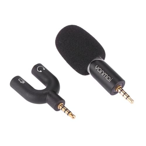 Yanmai 90 stopni obrotowy Mini Uni-directional Mikrofon pojemnościowy Rejestrator dźwięku dla mikrofonu iPhone / iPad / iPod / Android Smartphone