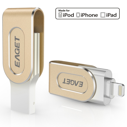 Eaget i80 64G USB 3.0 relâmpago Connector Flash Drive com Touch ID Thumb Pen Drive Memory Stick Capacidade de Expansão MFi Certified para iOS iPhone / iPad / iPod / Mac / PC Portátil