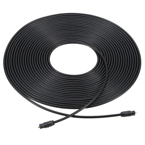 Cabo de áudio EMK PVC 24K banhado a ouro de fibra óptica digital Toslink para Amplificador Speaker DVD CD TV em 32,8 pés