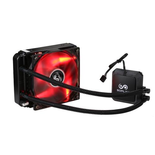 SOPLAY Liquid Freezer Sistema de refrigeração líquida de água CPU Cooler Hidráulica Bearing 120mm Ventilador PWM ajustável com LED vermelho LED
