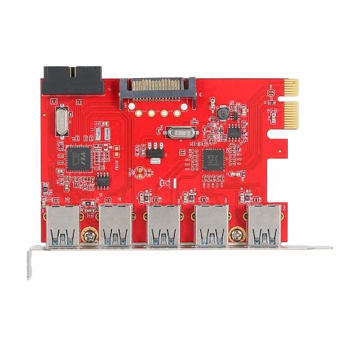 PCI-E na USB 3.0 5 portów Express Expansion Card Mini PCI-E Adapter USB 3.0 Adapter Controller z wewnętrznym złączem USB 3.0 19Pin i 15Pin Power Connector