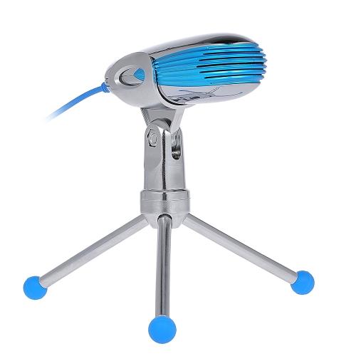SF-500B USB Condenser Microfone Plug and Play Microfone Placa de som incorporada com suporte de tripé dobrável para Home Studio Computador Prata com azul