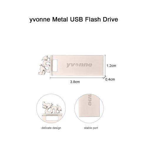 yvonne Metal USB Flash Drive Pen Drive 64G Memory Stick Pendrives Gift with Dragon Shape