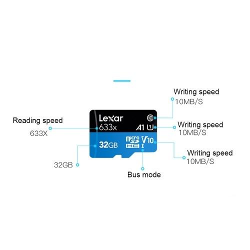 Lexar TF Card Reading Speed 95MB/s Writing Speed 20MB/s Micro SDHC Class10 UHS-I U1 V10 A1 Memory Cards 64GB фото
