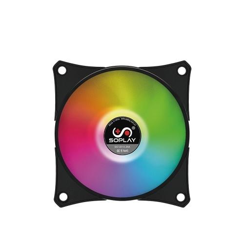 SOPLAY RGB LED PWM調節可能カラー(コントローラー付き)コンピュータケースファンクーラーラジエーター油圧ベアリング