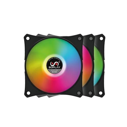 SOPLAY RGB LED PWM Color ajustable con controlador Caja de la computadora Ventilador Refrigerador Radiador Rodamiento hidráulico