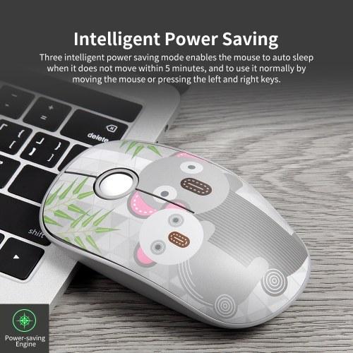 FD V8H 2.4G Wireless Mute Mouse Plug & Play Slim Mice Optical Tracking Power Saving Smooth Scroll Wheel for Laptop PC (Koala)