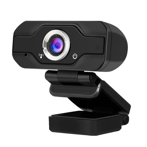 1080P USB Webcam Manueller Fokus Computerkamera Eingebaute schallabsorbierende Mikrofon Laufwerksfreie Webkamera für PC Laptop Schwarz