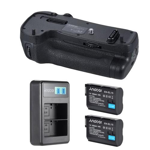 Vertical Multi-Power Battery Grip Pack Holder Kit + 2 * 1900mAh EN-EL15 Battery + Battery Charger MB-D17 Replacement for Nikon D500