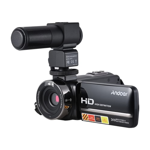 Andoer HDV-3051STR Appareil photo portable DV avec microphone d'entrevue M101