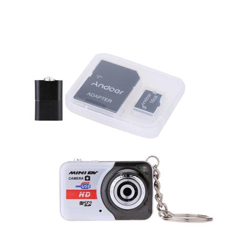X6 Przenośny aparat cyfrowy Ultra Mini HD z wysoką rozdzielczością Mini DV + Andoer Karta pamięci 16 GB klasy 10 Karta TF + adapter + czytnik kart USB Flash Drive