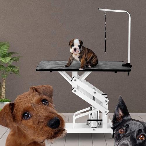 IKayaa Metal Z-Lift mesa de aseo hidráulica ajustable del perro de animal doméstico