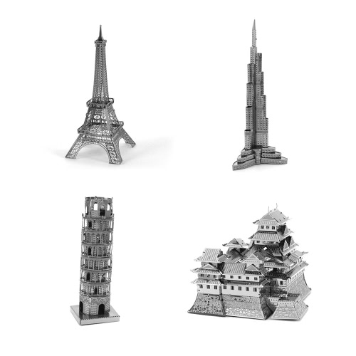 3D Puzzles World Great Architecture Combo - Eiffel Tower - Tower of Pisa - Burj Khalifa - Tower Himeji Castle 3D Metal Model