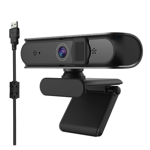 Full HD 5MP Autofocus Wide-angle Webcam Built-in Digital Microphone HD Camera USB Plug & Play for Laptop Desktop Black