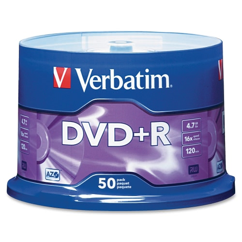 Verbatim DVD+R 4.7GB 120min 16X 50PK Spindle Branded Recordable Media Disc Compact Write Once Data Storage DVD 95037