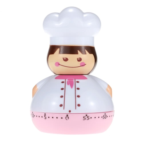 Kitchen Cooking Timer Mechanical Drive Countdown 60-Minute Loud Alarm Clock Cartoon Chef Shape