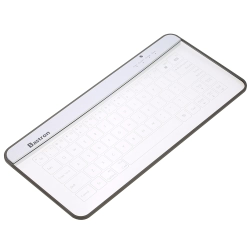 bastron innovative ultrathin slim transparent glass wireless bluetooth touch keyboard with blue led backlit support gesture function for