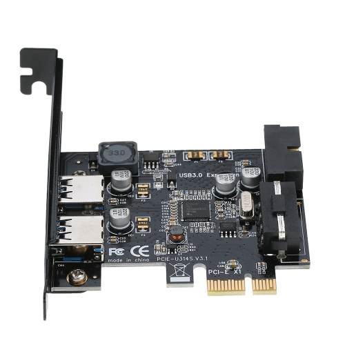 STW PCI-E to USB 3.0 2-Port PCI Express Card Mini PCI-E USB 3.0 Hub Controller Adapter with Internal USB 3.0 19-Pin Connector and 5V 4 Pin Male Power Dual Port Connector