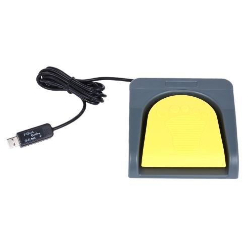 PCsensor USB Single Foot Switch Controle One Key Personalizado Computador Teclado Pedal de ação Cinzento com amarelo