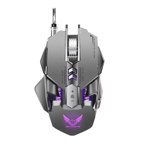 ZERODATE X300GY USB Wired Mouse da gioco competitivo Mouse meccanico Gioco regolabile 4000 DPI 7 pulsanti programmabili Effetto di illuminazione a LED