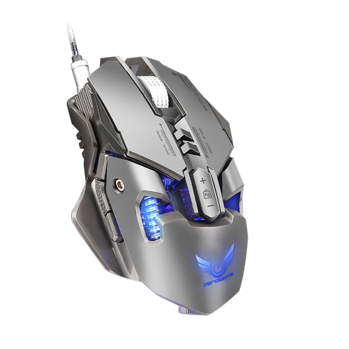 ZERODATE X300GY USB Wired Competitive Gaming Mouse Mechanical Game Mice Adjustable 4000DPI 7 Programmable Buttons LED Lighting Eff