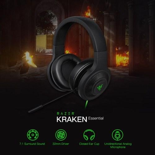 Razer Kraken Essential Gaming Headset Проводной наушник с внешним ухом 3,5 мм Наушники с микрофоном для ПК / ноутбука / телефона Шумоизоляция