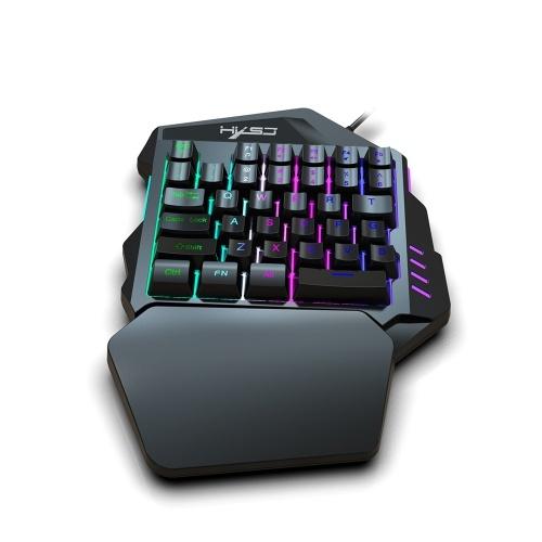 Одноручная игровая клавиатура HXSJ J50 35 клавиш светодиодная подсветка + проводная игровая мышь с подсветкой 5500 DPI 7-кнопочная клавиатура и мышь фото