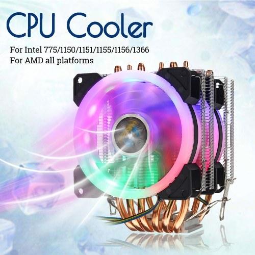 Intel 775/1150/1151/1155/1156/1366 AMDプラットフォーム用CPUクーラー6ヒートパイプ4ピンRGB 2ファン