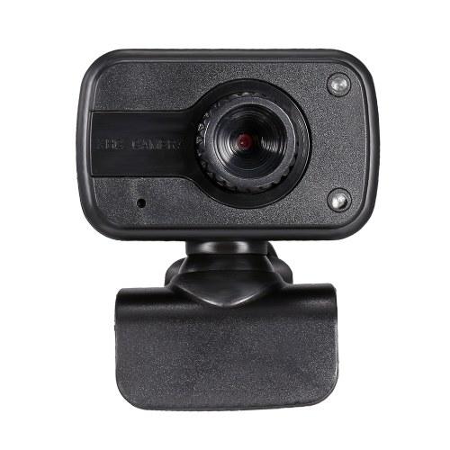 Drive-free USB Webcam Manual Focus Web Camera Built-in Microphone Desktop Laptop Camera with LED Fill Light Lamp