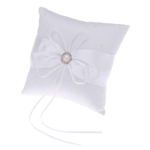 Romantic Soft Satin Bowknot with Bead Wedding Ring Pillow + Wedding Satin Bowknot with Bead Flower Basket