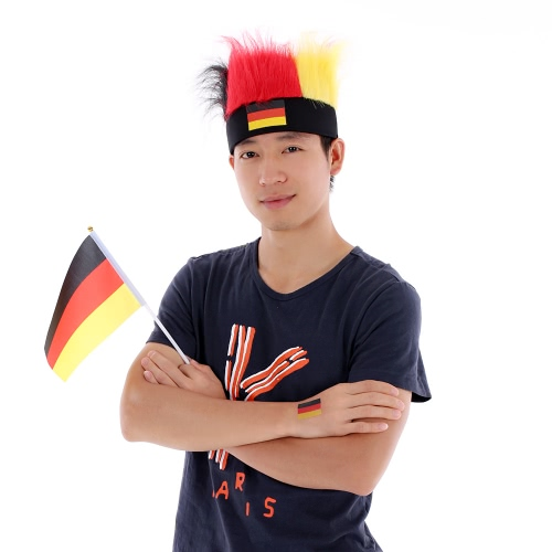 Anself Germany Flag Football Soccer Fans Wig Cockscomb  + Anself 10pcs/set Germany National Flag Temporary Tattoos Body Face Tattoo Sticker Patriotic Tattoos