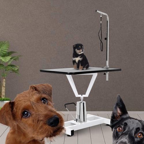 IKayaa Table de toilettage à chien pour animaux de compagnie réglable en métal de 36 po